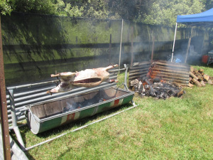 A whole sheep on the spit.