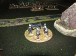 Back at the Mission the British commander repositions his artillery.